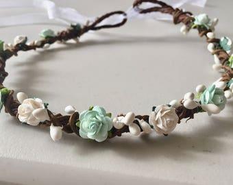 Mint flower crown, boho flower crown, flower girl crown, bridesmaid crown, boho wedding, flower headband, flower halo, twine flower crown,