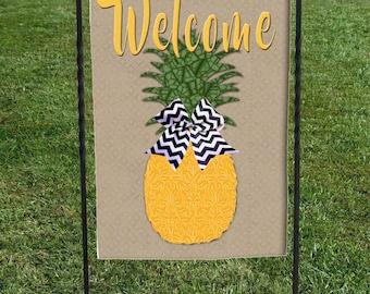 "Pineapple Welcome Garden Flag, Beige Background ,Black and White Chevron Bow, Heat Set, Hand Sewn,  12""x18"""