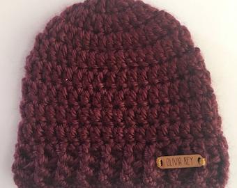 Crocheted baby beanie, crocheted baby hat, burgundy baby beanie, newborn beanie, newborn hat, crocheted beanie, baby shower