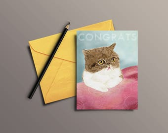 Watercolor kitty cat Congratulations greeting card - Digital download only