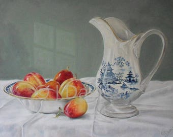 Still Life Art, Still life painting, Jug and Plumbs oil painting, still life oil painting, realistic still life art