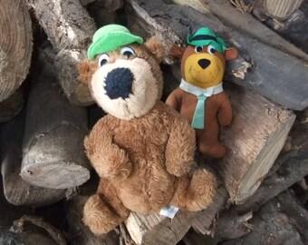 1980 Mighty Star Hanna Barbera Yogi Bear and Boo Boo Bear plush toys