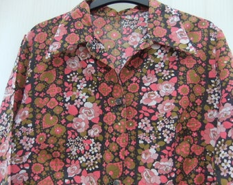 Vintage 1950,s ladies long cotton House Coat floral pattern