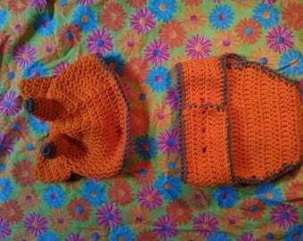Crochet giraffe hat and matching diaper cover