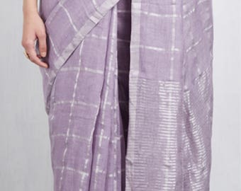 Anavila silver grid lavender sari.