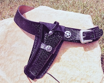 Custom Leather Western Style Holster and Belt