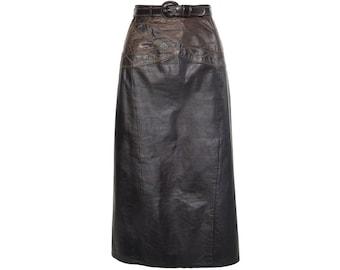 Two Tone Leather Midi Skirt - Women's Size 14