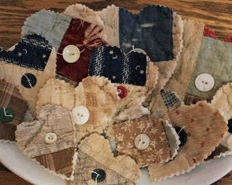 Cutter Quilt Hearts ~ 12 ~ Valentines Day ~ Vintage Quilt Hearts ~ Primitive Decor ~ Antique Quilt Hearts ~ Bowl Fillers