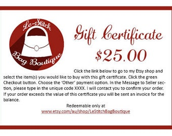 Gift Certificate - 25.00
