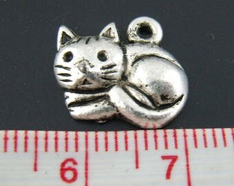 Set of 2 small charms kitten snuggled