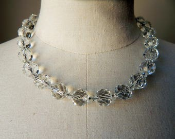 Art Deco Lead Crystal Glass Faceted Beads on Chain Necklace - Vintage 1930s
