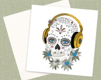 Sugar Skull Greeting Card with diamonte