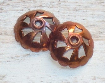 Large Brass and Copper Fired Ornate Bead Caps, Copper Bead Caps
