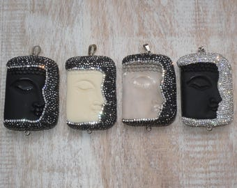 Rare Large Micro Pave CZ Encrusted Obsidian, Clear Crystal, Agate Connector Pendants