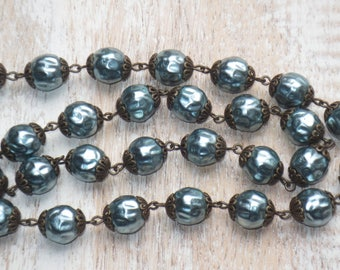10mm Czech Glass Hammered Capped Pearl Chain in Blue- Pearl Chain