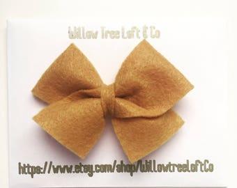 Mustard color medium size hair bow