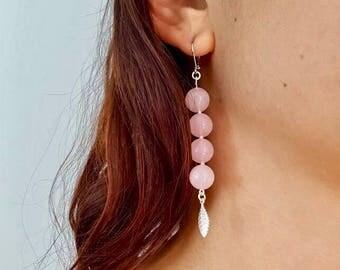 Dangling earrings, rose quartz, rose quartz, stone, semi precious stone