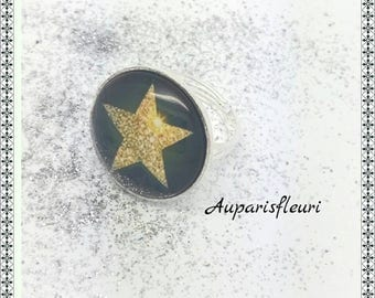 Star silver plated Adjustable ring