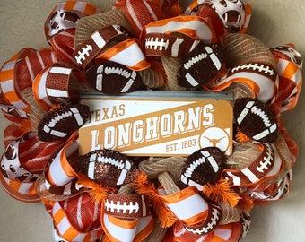 UT Austin Wreath/Longhorns Wreath/Texas Longhorns Wreath/Orange Deco Mesh Wreath/College Wreath/Football Wreath
