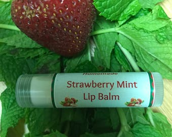 Strawberry Mint Lip Balm  Fruity Cooling Refreshing .15oz tube Beeswax Mango Butter