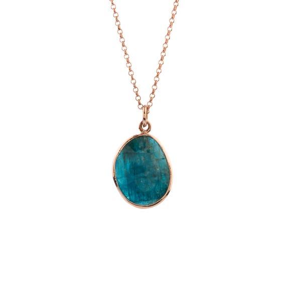 Silver Blue Apatite Pendant,  Gold Apatite Necklace, Rose Gold Apatite Necklace, Natural Apatite Necklace,  Gold Necklace,  Gift For Her