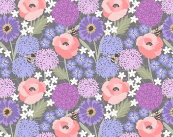BEE KIND - Allium & poppies on grey