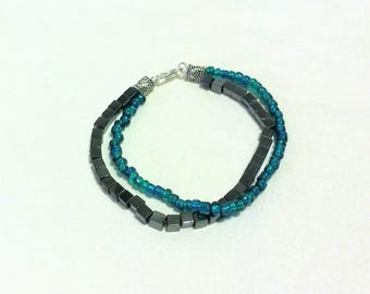Blue and Metal Bead Bracelet, Multi Strand