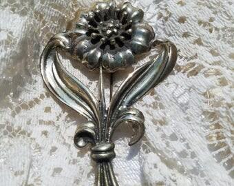 Beautiful Vintage Sterling Silver Flower Brooch - 1950s