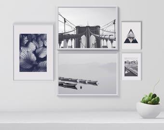 Gallery Wall Set of 5 Modern Black and White Art Prints, Printable Wall Art Set, Living room decor, Wanderlust Art Print Set, Modern Art Set