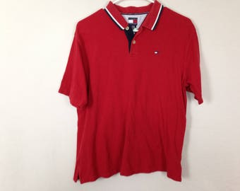 red tommy hilfiger polo shirt size L