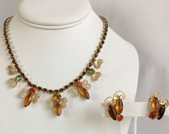 Juliana Style Gold Tone Heart Filigree Amber Orange and Green Rhinestone Vintage Necklace and Clip Earrings