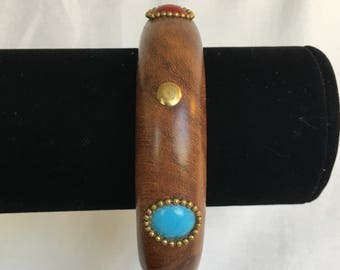 Two's Company Wood With Faux Turquoise and Faux Carnelian Cabochons Set in Brass Vintage Bangle Bracelet