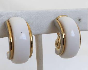Monet White On Gold Striped Hoop Earrings, White Lucite, Gold Tone, Clip On, Vintage, 1960s