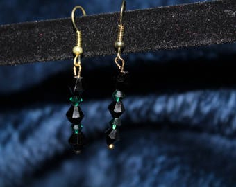 Black and Green Glass Bead Drop Earring