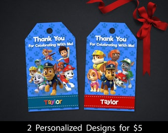 Personalized Paw Patrol Boys Birthday Party Thank You Favor Tag Blue Paw Prints Chase Skye Label Tags Labels Printable DIY - Digital File