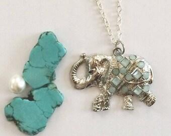 Elephant Necklace, Fashion necklace, turquoise elephant necklace