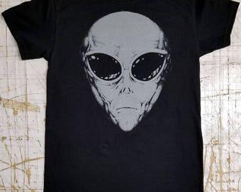 Alien Grey on Black tee shirt