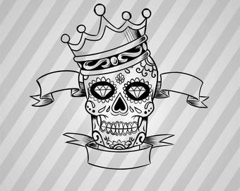 Sugar Skull King - Svg Dxf Eps Silhouette Rld Rdworks Pdf Png Ai Files Digital Cut Vector File Svg File Cricut Laser Cut