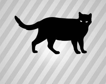 Cat Silhouette Black Cat - Svg Dxf Eps Silhouette Rld RDWorks Pdf Png AI Files Digital Cut Vector File Svg File Cricut Laser Cut
