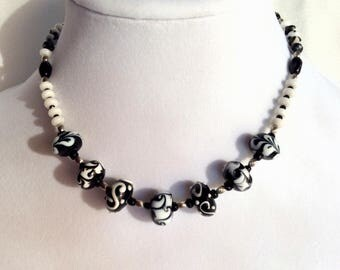 Black and White Lampwork bead Necklace and matching earrings