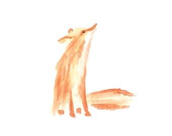 Fox Watercolor Painting, Wall Art, Baby Girl or Boy Room, Baby Nursery, Animal Watercolour, Aquarell