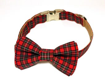 Red Scotland plaid - Bow Tie with and without Collar