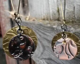 Handmade Floral Metal Drop Earrings