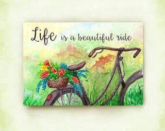 Rusty Old Bike, Flower Basket, Watercolor Art, Original Print, Birthday Card, Friendship, Life is Beautiful, Bicycle Riding,  Cruising Life