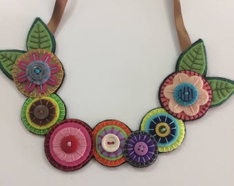 Felt Necklace, Original Felt Necklace, Flower Necklace