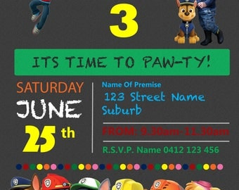Paw Patrol Birthday Invitation (Personalised)