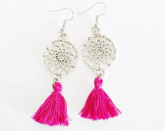 Bohemian pink grenad dreamcatcher earrings