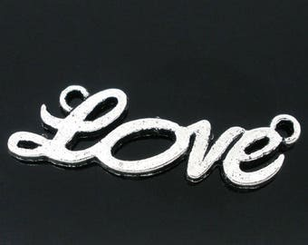 1 connector love antique silver metal 33 * 10 mm
