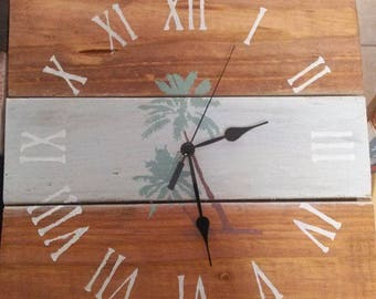 Natural Tropical Beach Nautical Style Pallet Clock Entryway Living Room  Pool Patio Clock