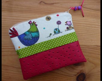 """Multi function """"My Easter chickens"""" fuchsia ostrich leatherette case and cotton fabric"""